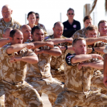 May 2012, Sinai: Haka for the MFO Director arrival on North Camp to mark the 30th anniversary of the MFO. Credit: BROOKE CARRIGAN.